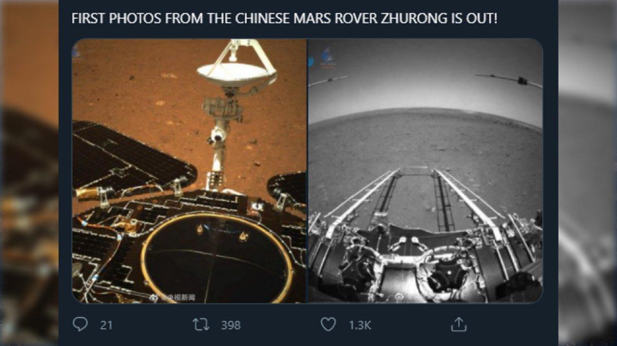 Çinin Zhurong adlı aparatı Mars səthindən ilk fotolarını Yer kürəsinə göndərib