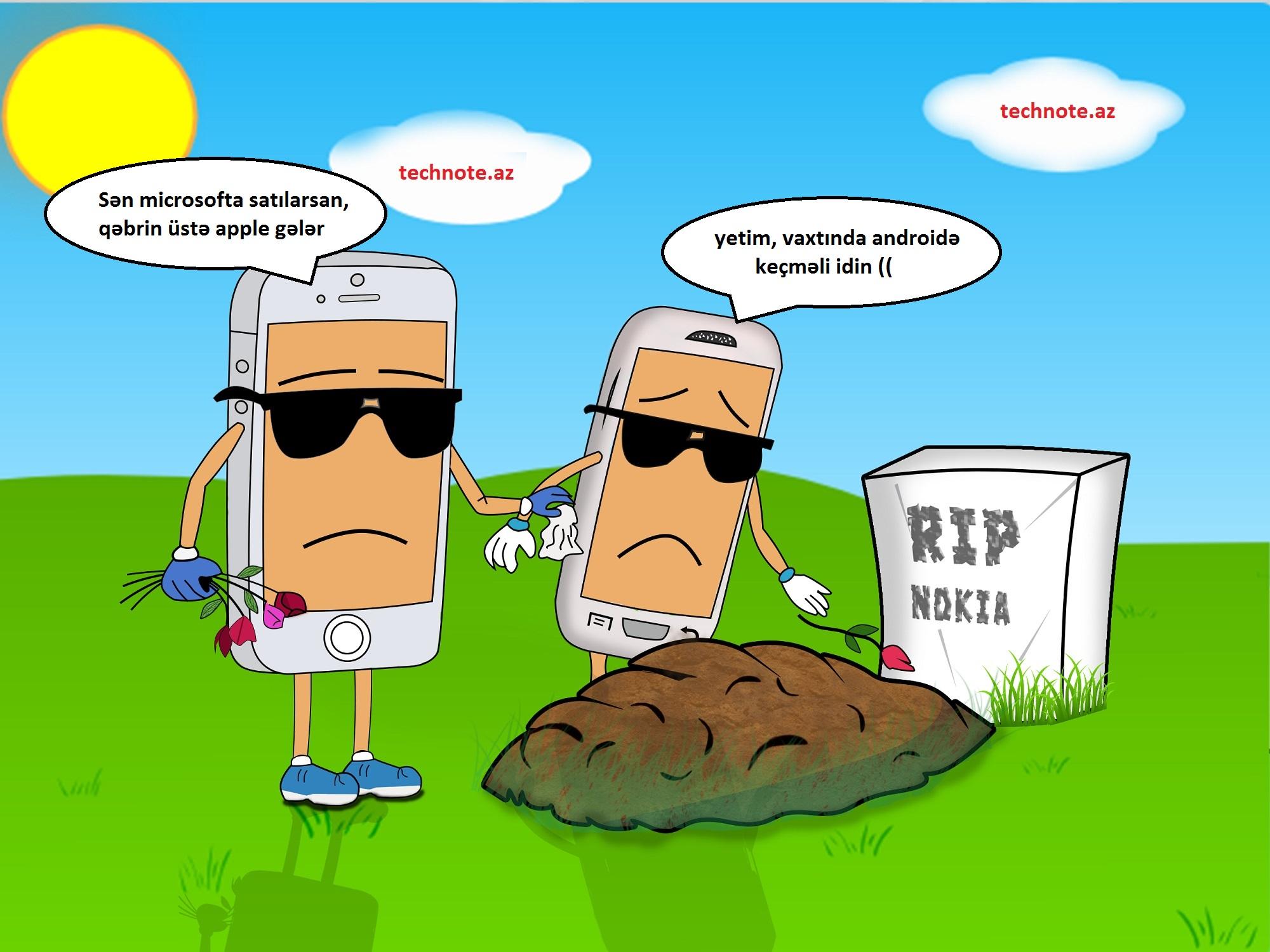 Nokia, Apple, Samsung - dəfn karikaturası
