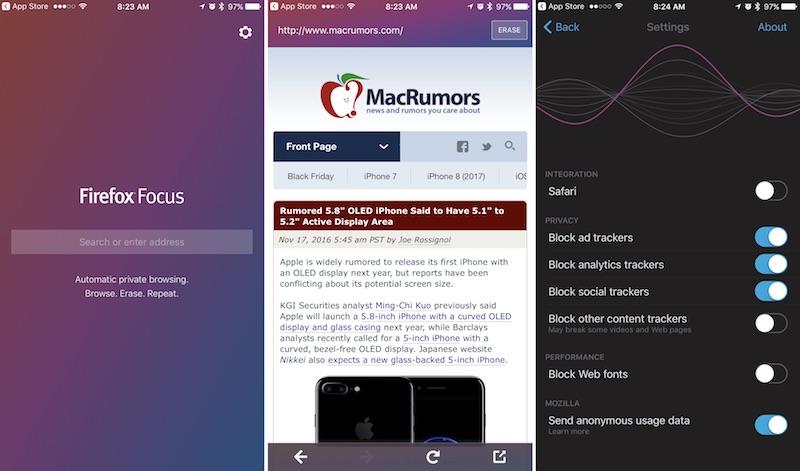 """""""Mozilla"""" şirkəti yalnız iOS-də çalışan yeni Firefox Focus brauzerini təqdim etdi"""