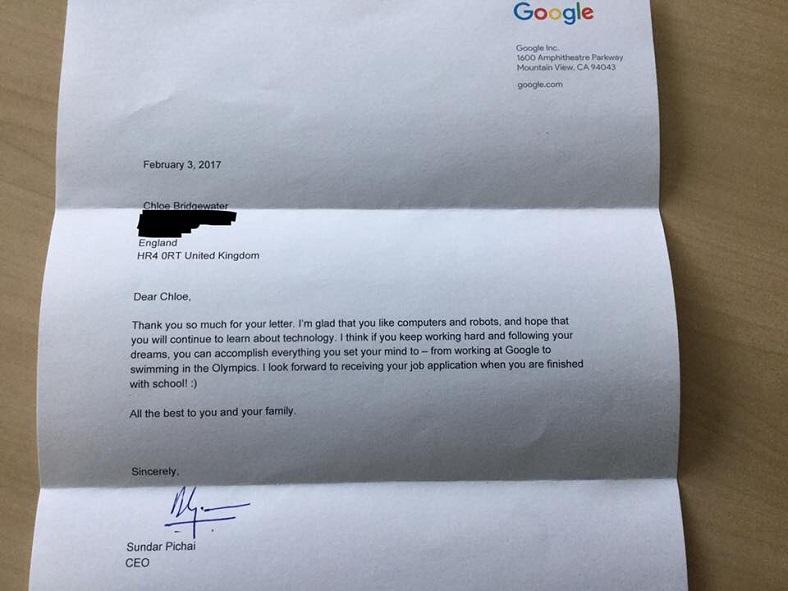 Google CEO-sunun şəxsən cavab verdiyi 7 yaşındakı qızdan Google-a iş müraciəti
